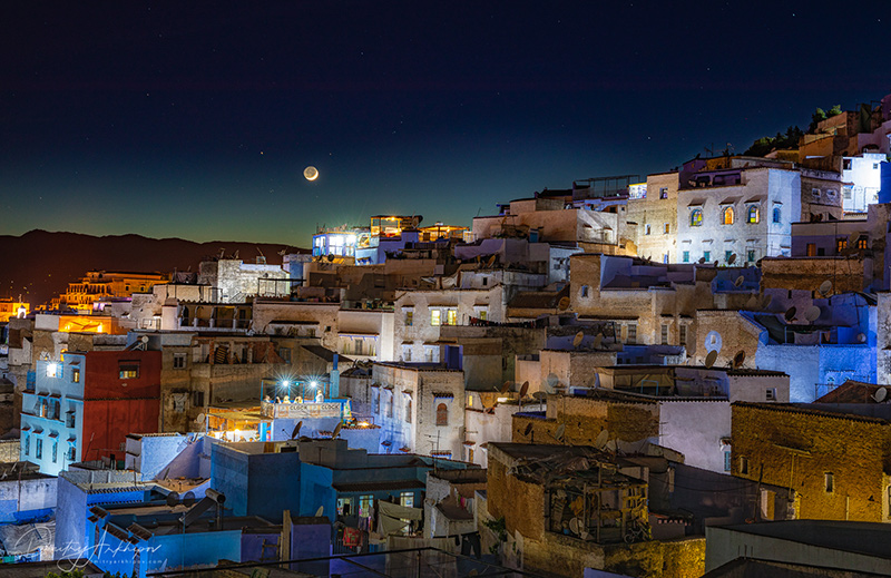 Night in Chefchaouen blue town, Morocco