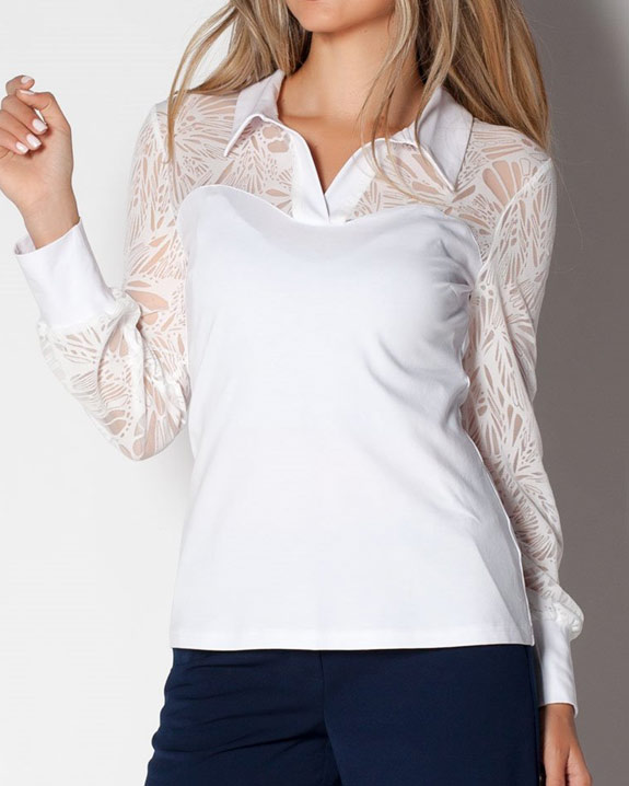 Бяла дамска блуза от трико от пениран памук и ефектен дълъг ръкав,
