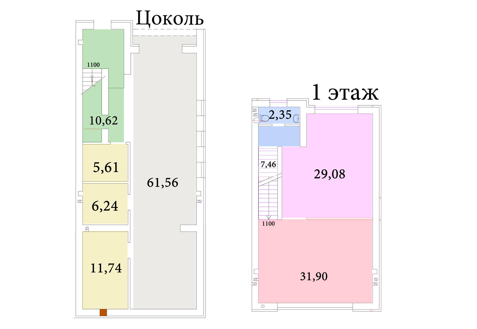 Планировка цоколя первого этажа элитных коттеджей SunnyVillage