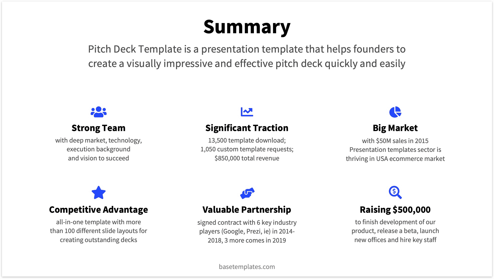 pitch deck template viewer  summary