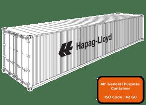 размеры морских контейнеров / 40'GP