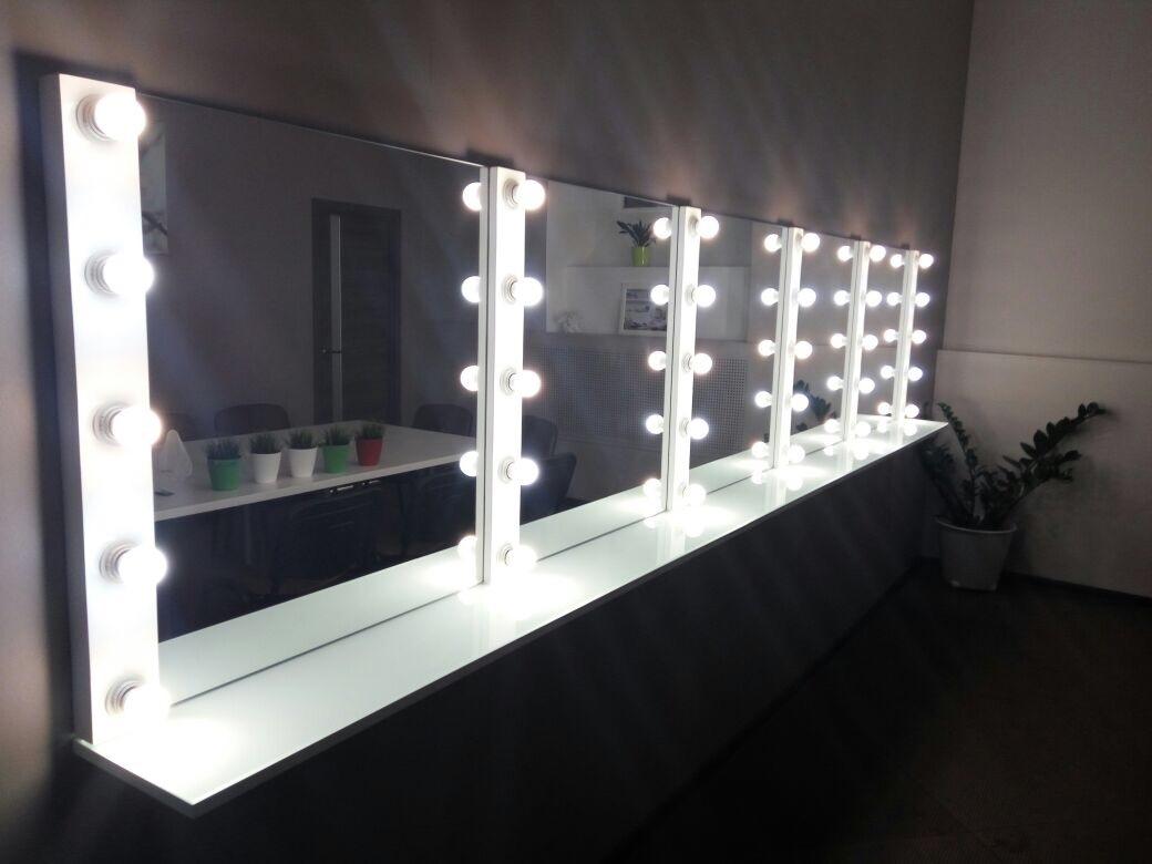 Гримерное зеркало рама мдф белая выключатель на каждую линию снизу подключение напрямую к выведенному проводу