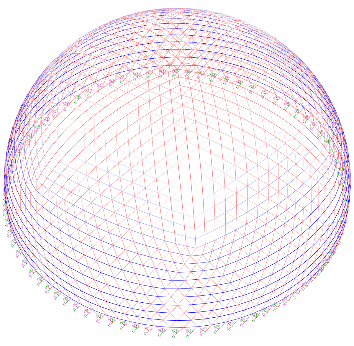 Диаграмма напряжений купола под действием снеговой нагрузки
