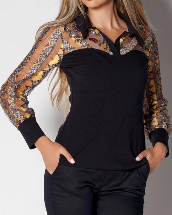 Черна дамска блуза от трико от пениран памук, с якичка и дълъг ръкав от цветен тюл с бродерии.