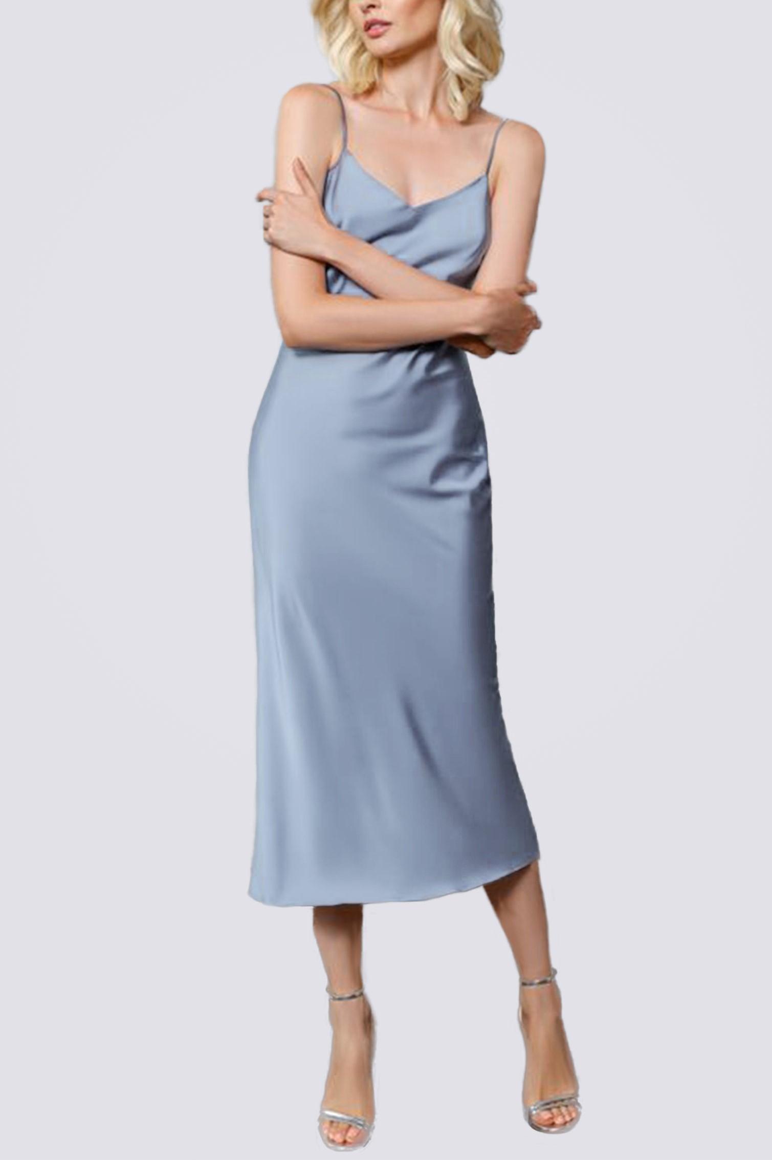 Платье комбинация миди ES.design голубое EGOStyle