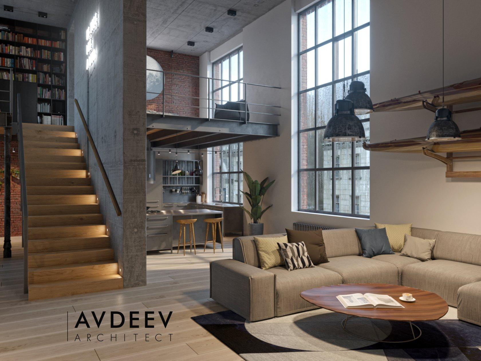 дизайн интерьера квартиры лофт студия AVDEEV ARCHITECT