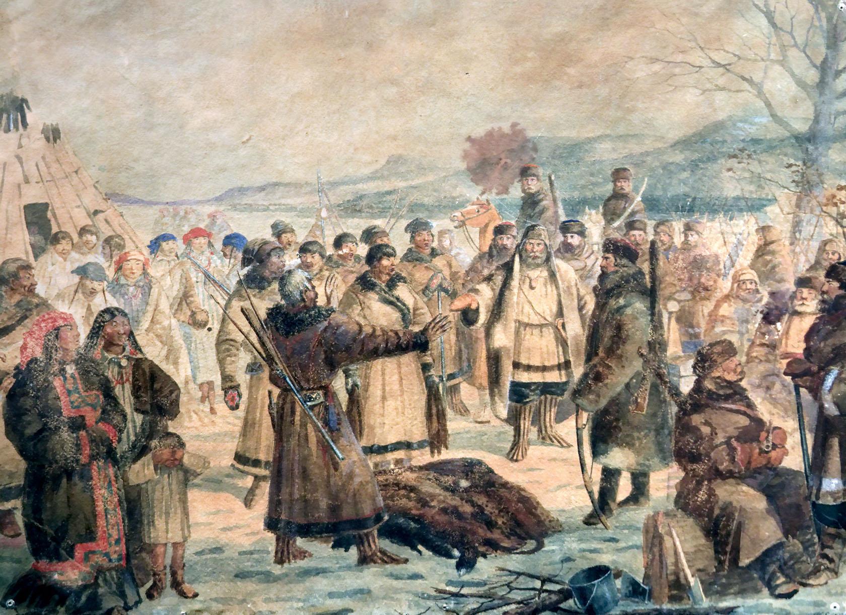 Михай Зичи. «Императрица Мария Фёдоровна рядом с телом Александра III» (1895)
