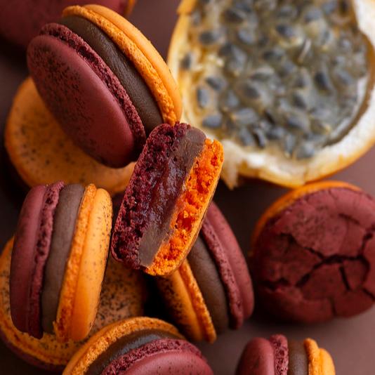 Macarons à l'orange et au fruit de la passion