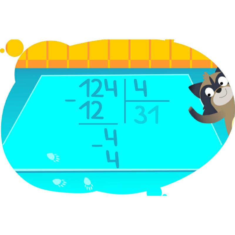 Енот учит делить числа в столбик