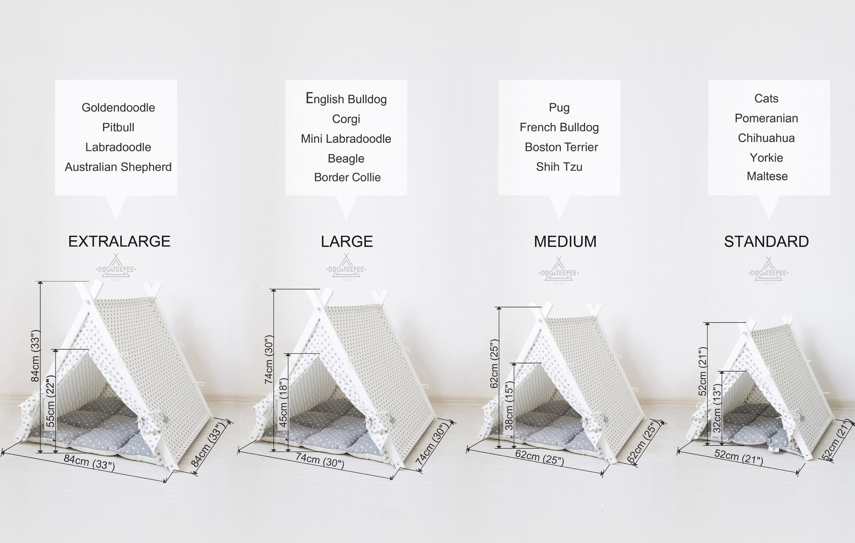 Dog teepee size chart by DogAndTeepee