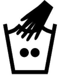 Знаци на етикет за ръчно пране с топла вода до 40 градуса