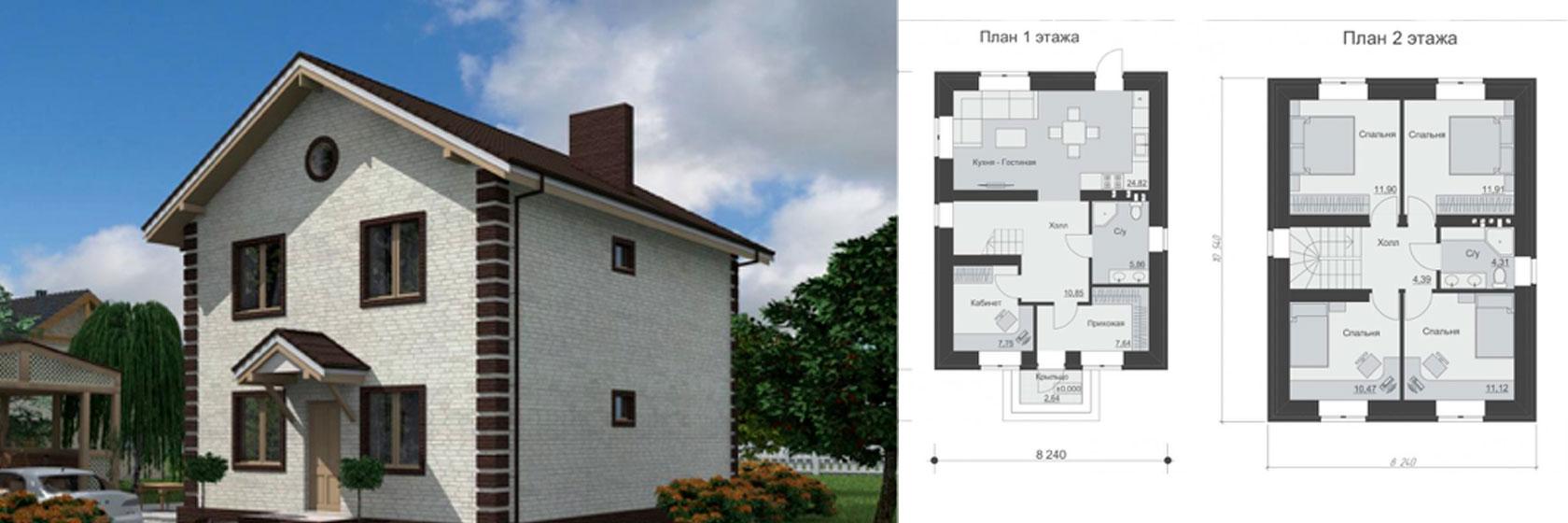 двухэтажный проект дома из керамзитобетонных блоков