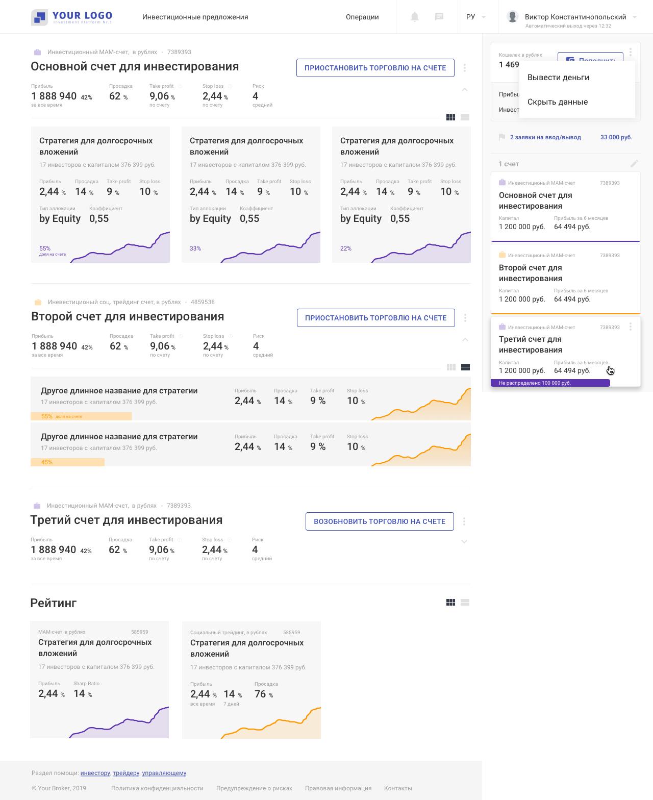 Платформа для инвесторов и трейдеров: дашборд | SobakaPav.ru