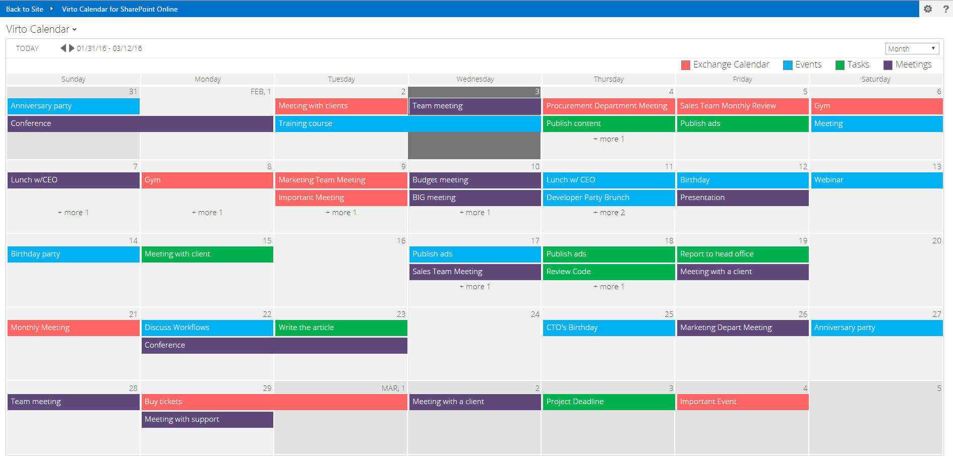 exchange online calendars in sharepoint
