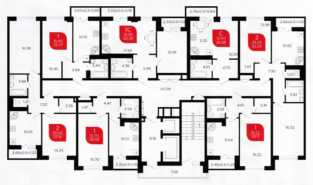 Планировки квартир ЖК Микрорайон Красная Площадь 1