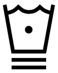Символ за пране в пералня със студена вода до 30 градуса и специална програма за деликатни тъкани