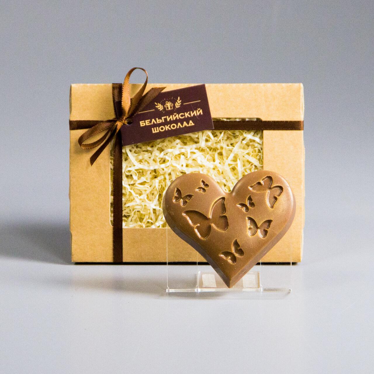 Шоколадная фигурка «Сердце с бабочками»