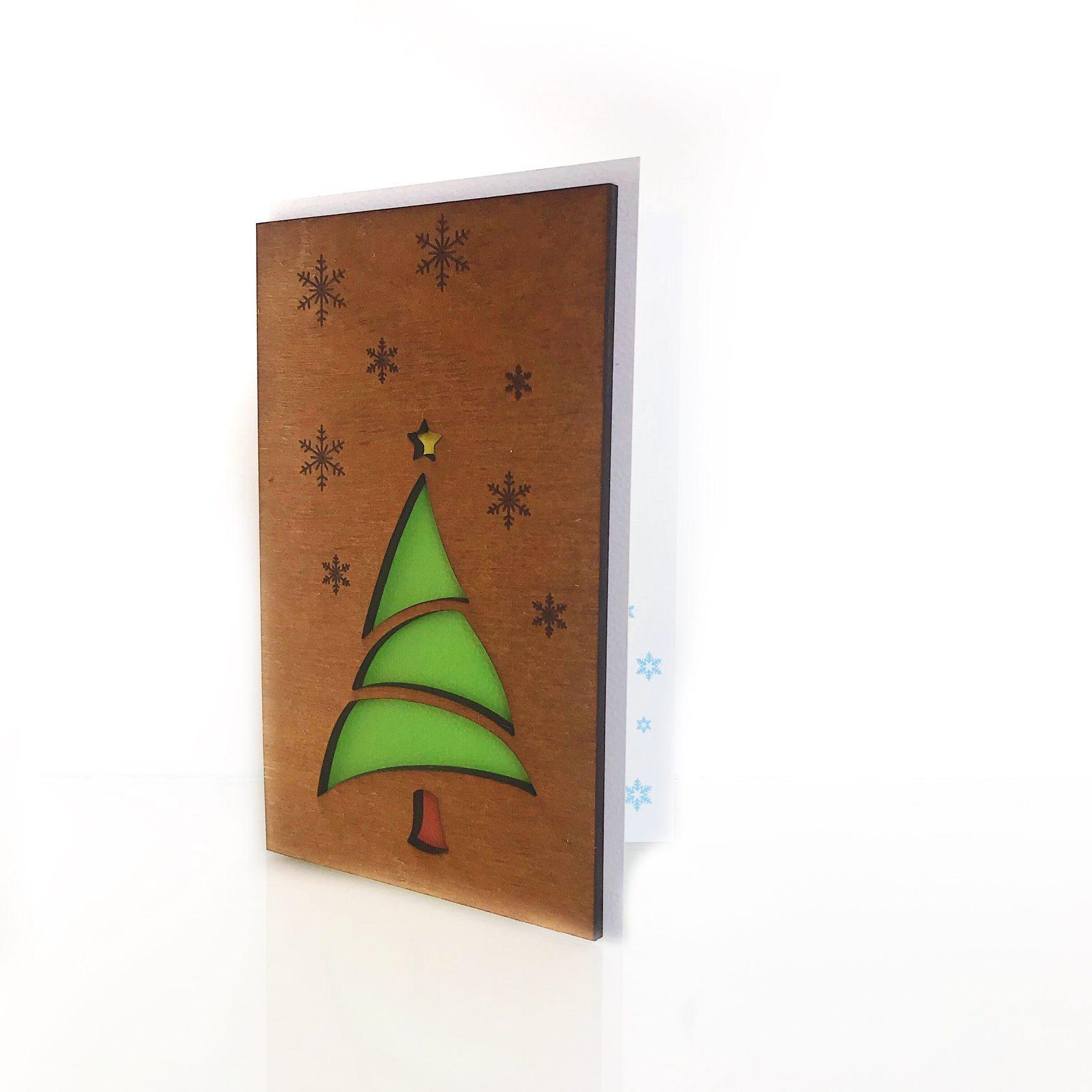 """Деревянная открытка WOODCARD.BZ """"Новогодняя ёлка"""""""