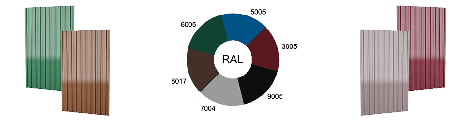 Популярные цвета профлиста по RAL