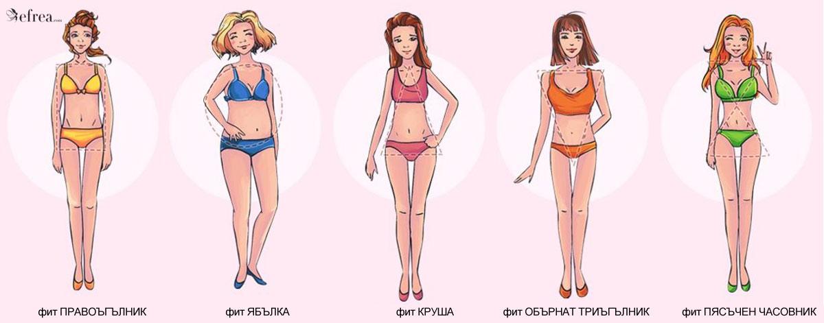 Различни дамски фигури - правоъгълник, круша, ябълка, правоъгълник, обърнат триъгълник и пясъчен часовник