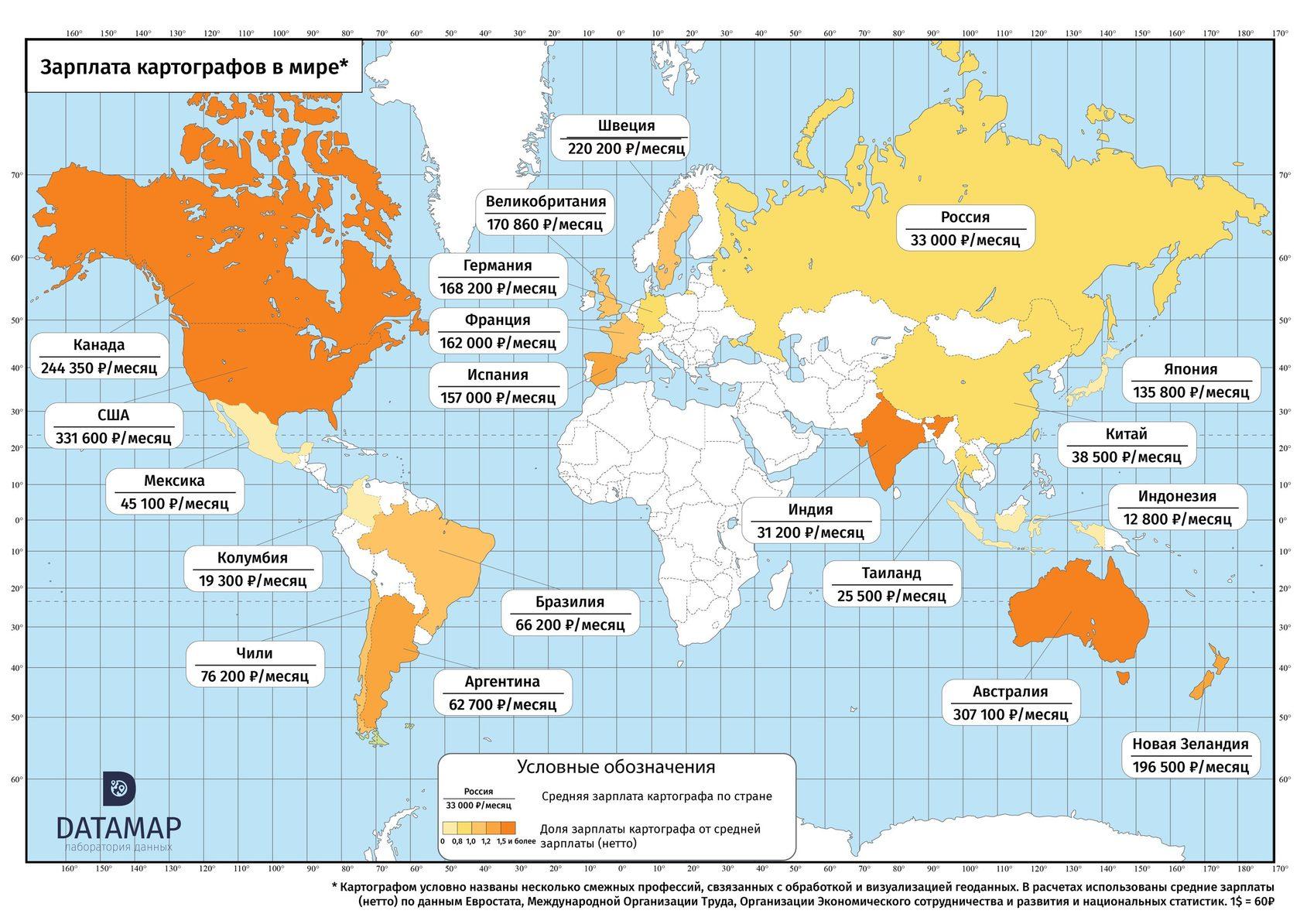 какая страна занимает первое место по зарплате