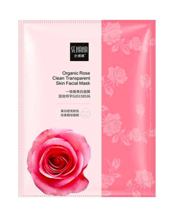 Увлажняющая маска с экстрактом розы. Senana Organic Rose Clean Transparent Skin Facial Mask
