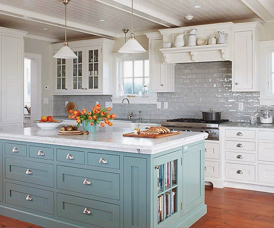 Выбор дизайна кухни - небесный цвет