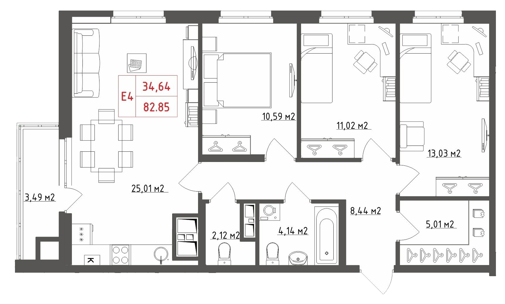 Четырехкомнатные квартиры, евро-4, смарт-квартира