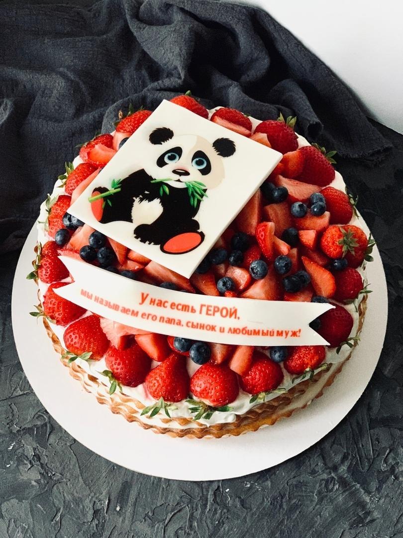 торт с фотопечатью и фруктами собралась идти