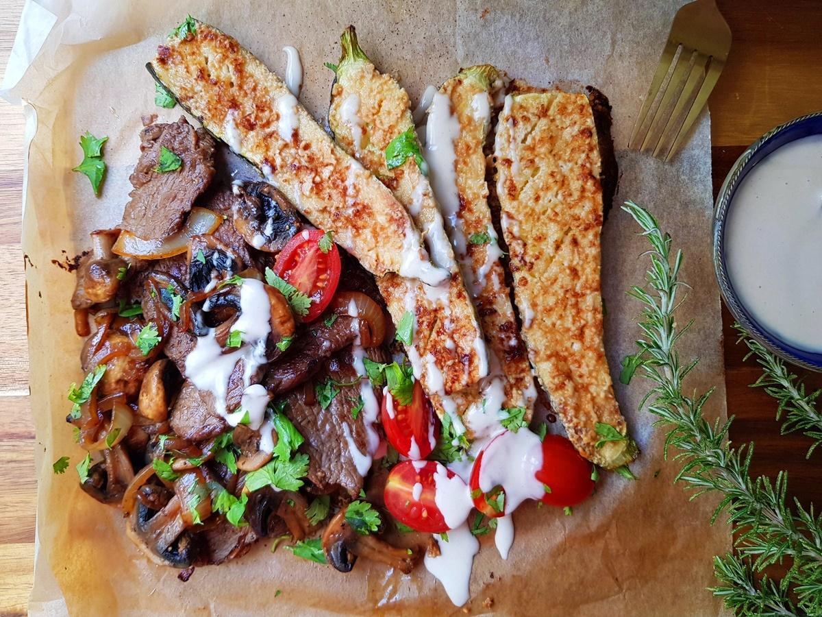 Кабачки в духовке с тахини и жареное мясо с грибами. Фото рецепт. Вкусный Израиль.