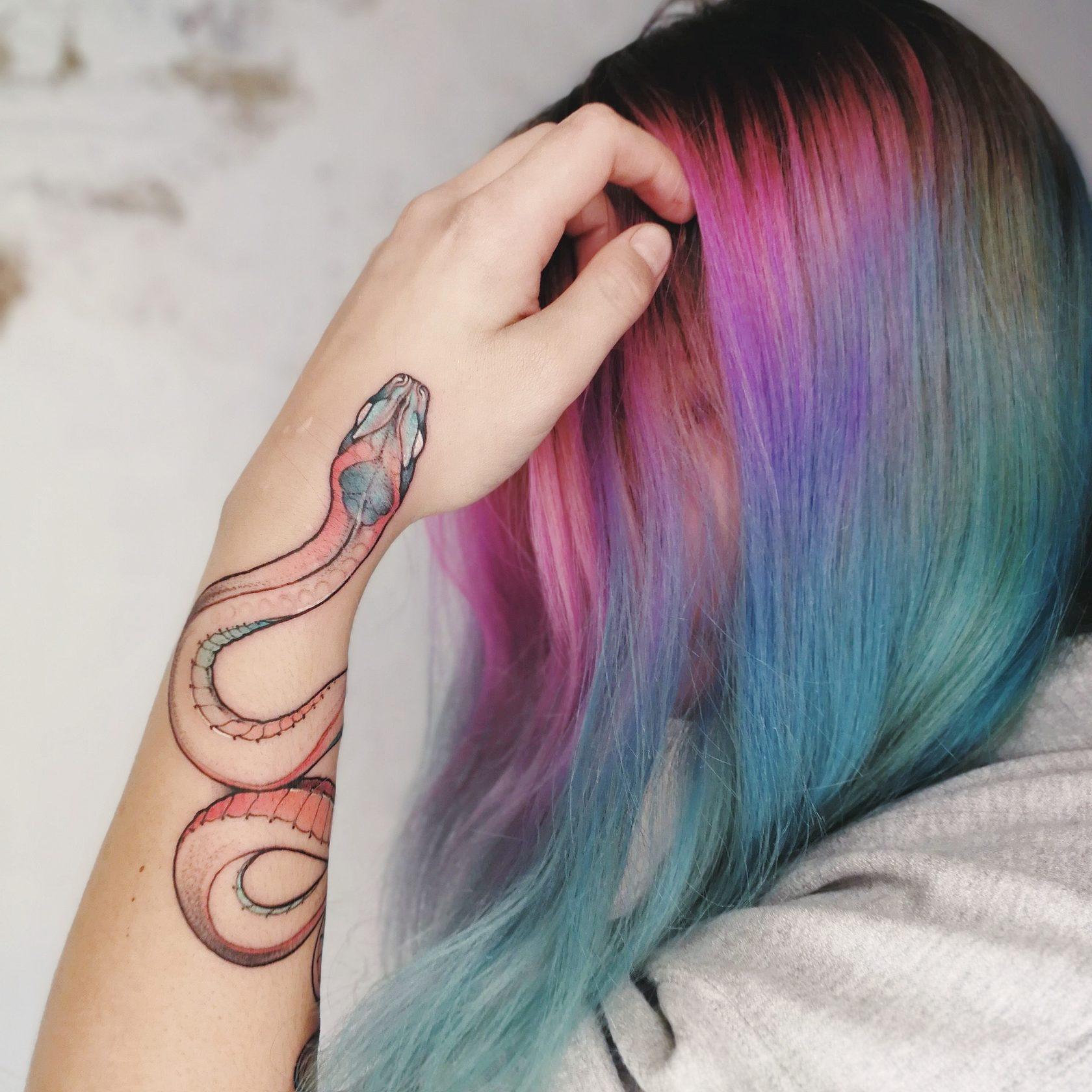 Цветные тату, графика, змея