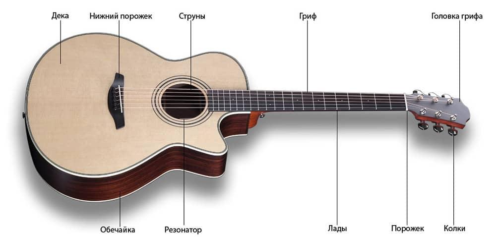 Схема устройства акустической гитары