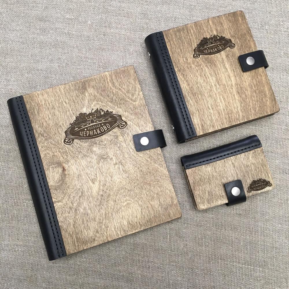 блокноты, ежедневники из дерева и кожи ручной работы