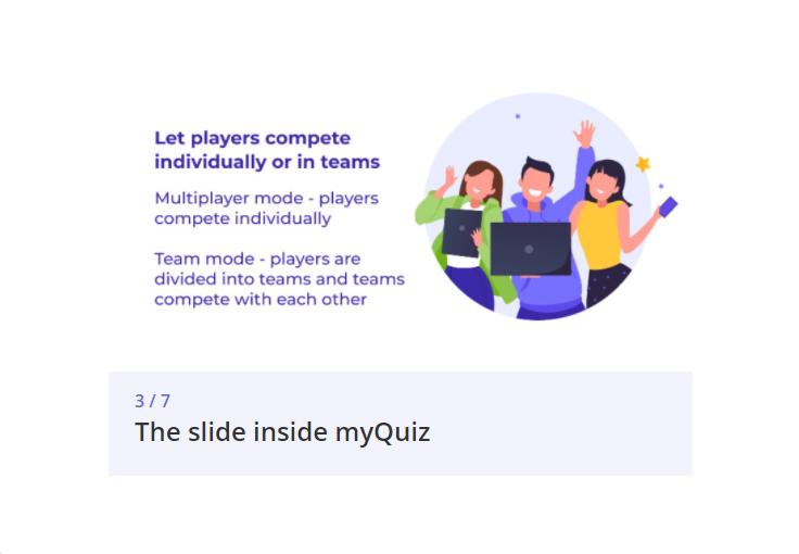 myQuiz slide example