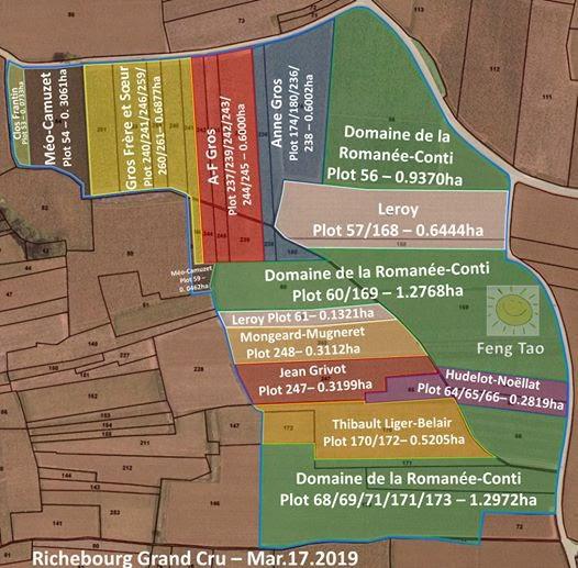Richebourg Grand Cru map and vineyard owners