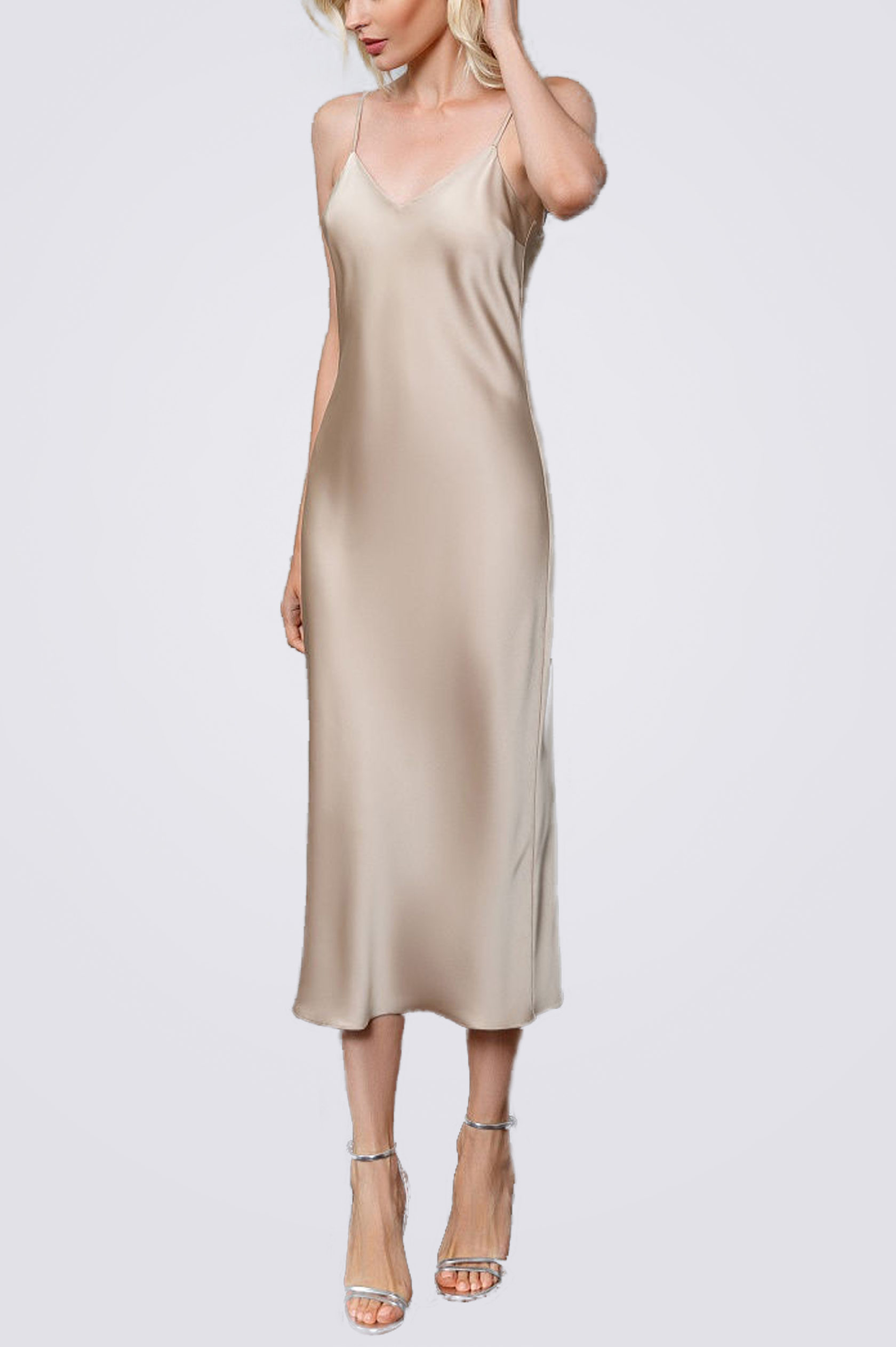 Платье комбинация миди ES.design бежевое EGOStyle