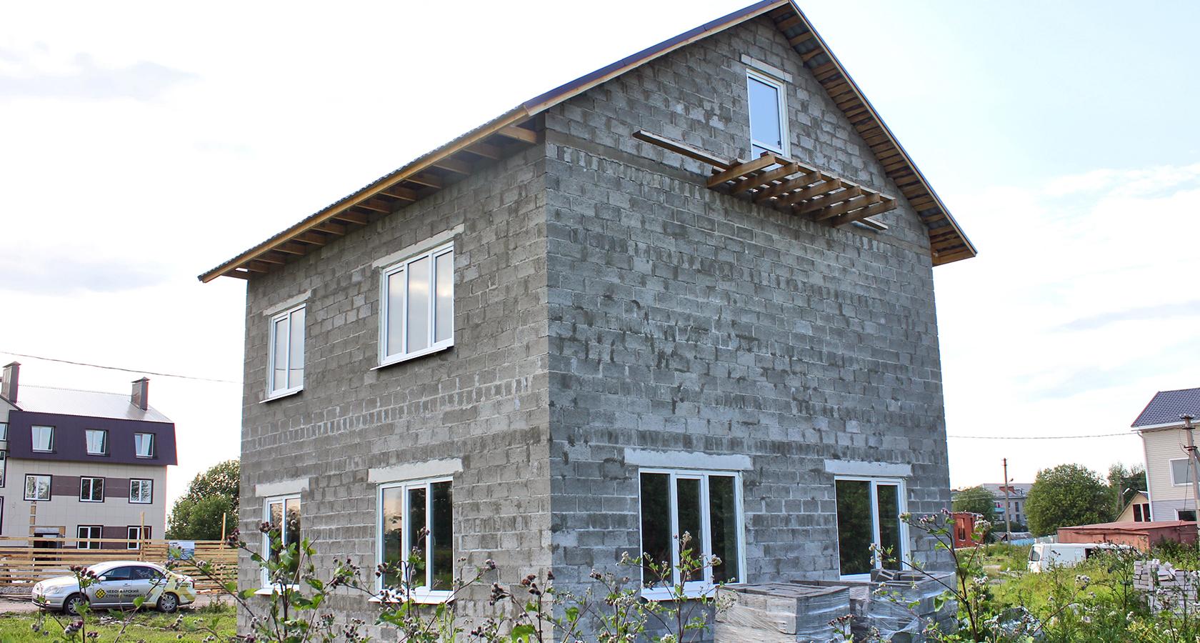 дом из керамзитобетонных блоков с гаражом