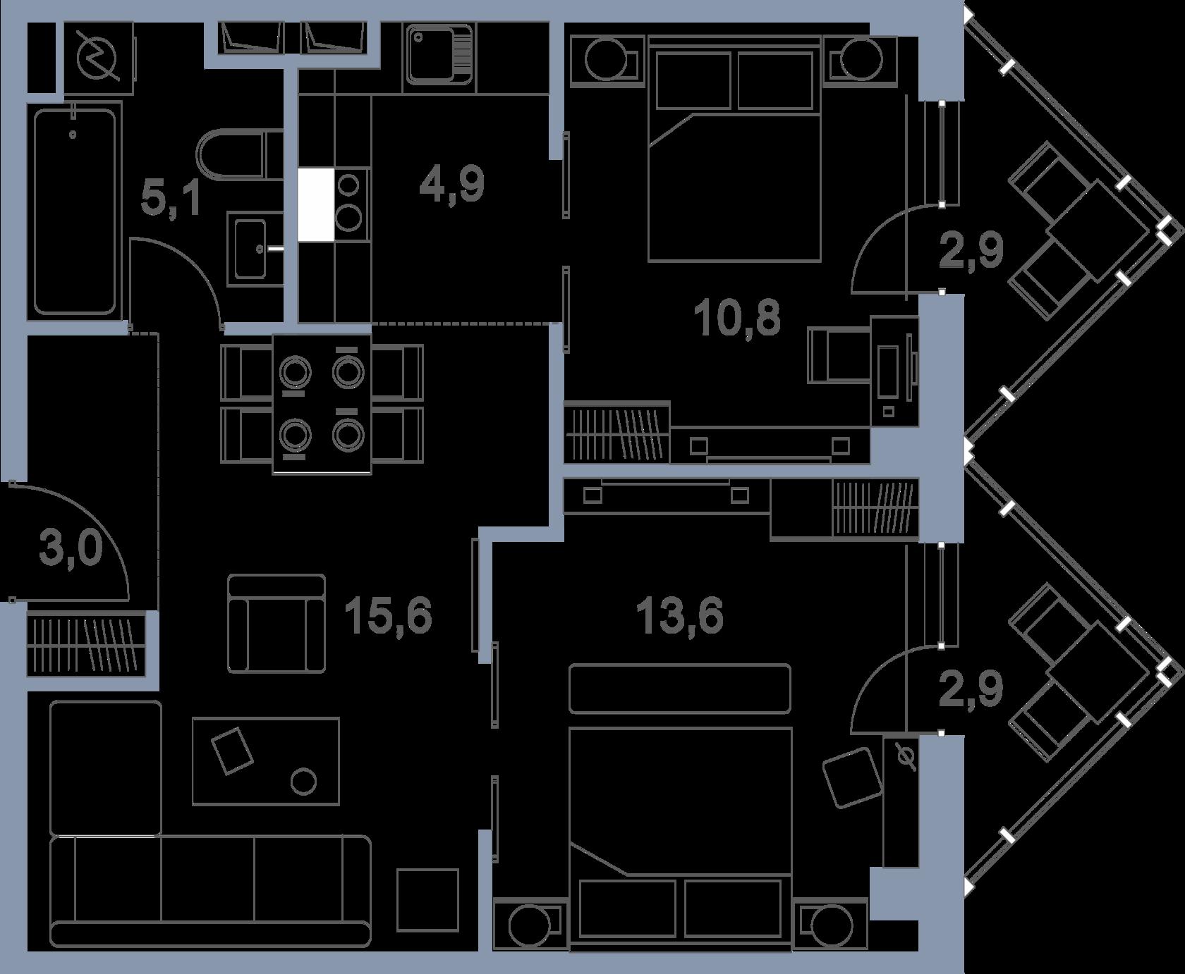 Планировка 3-комнатной квартиры в ЖК Первый Зеленоградский