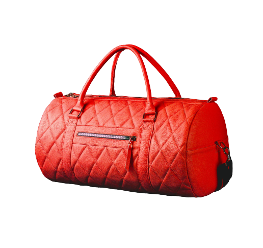 Красная кожаная сумка бочонок в авто фото