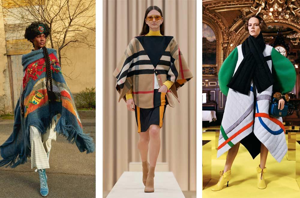 Връхни дрехи тип пончо от одеало или олекотена завивка сред тенденциите за зима 2022 според Vogue.