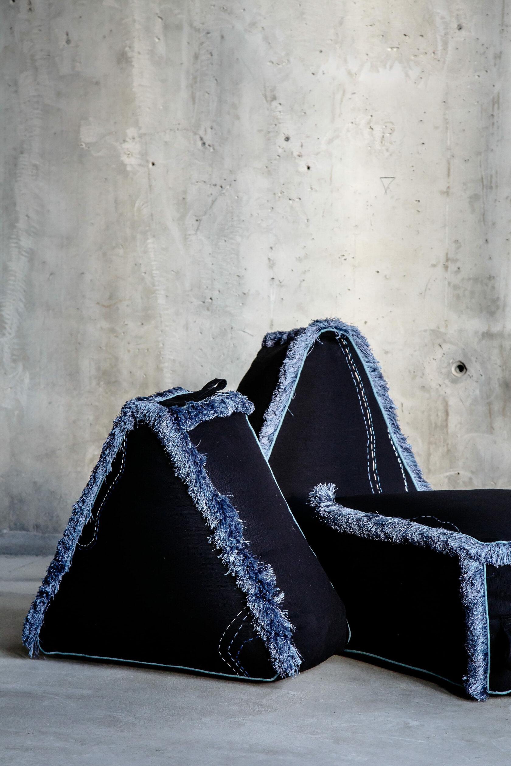Kaleidoscope ottomans. Made by the.DOT.home. Designed by Alexandra Falishtynskaya