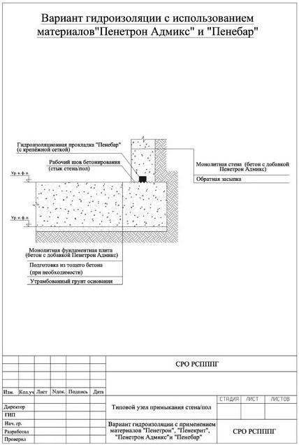 Гидроизоляция шва при бетонировании - Вариант гидроизоляции с использованием материалов Пенетрон Адмикс и Пенебар