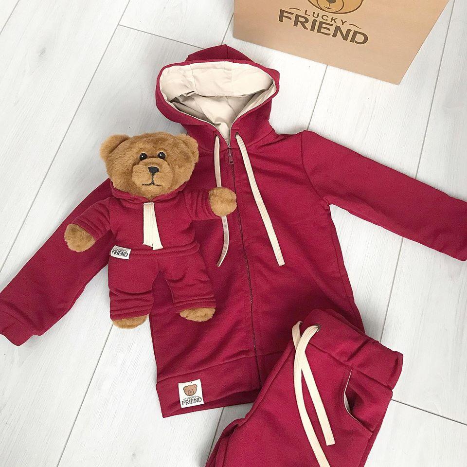 Комплект Lucky Friend - костюм і ведмедик Лакі Бордо