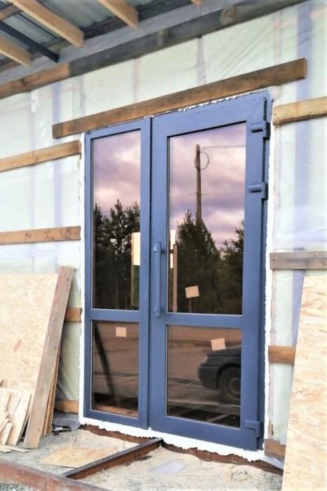 Дверь Окрашенный профиль тонированный стеклопакет