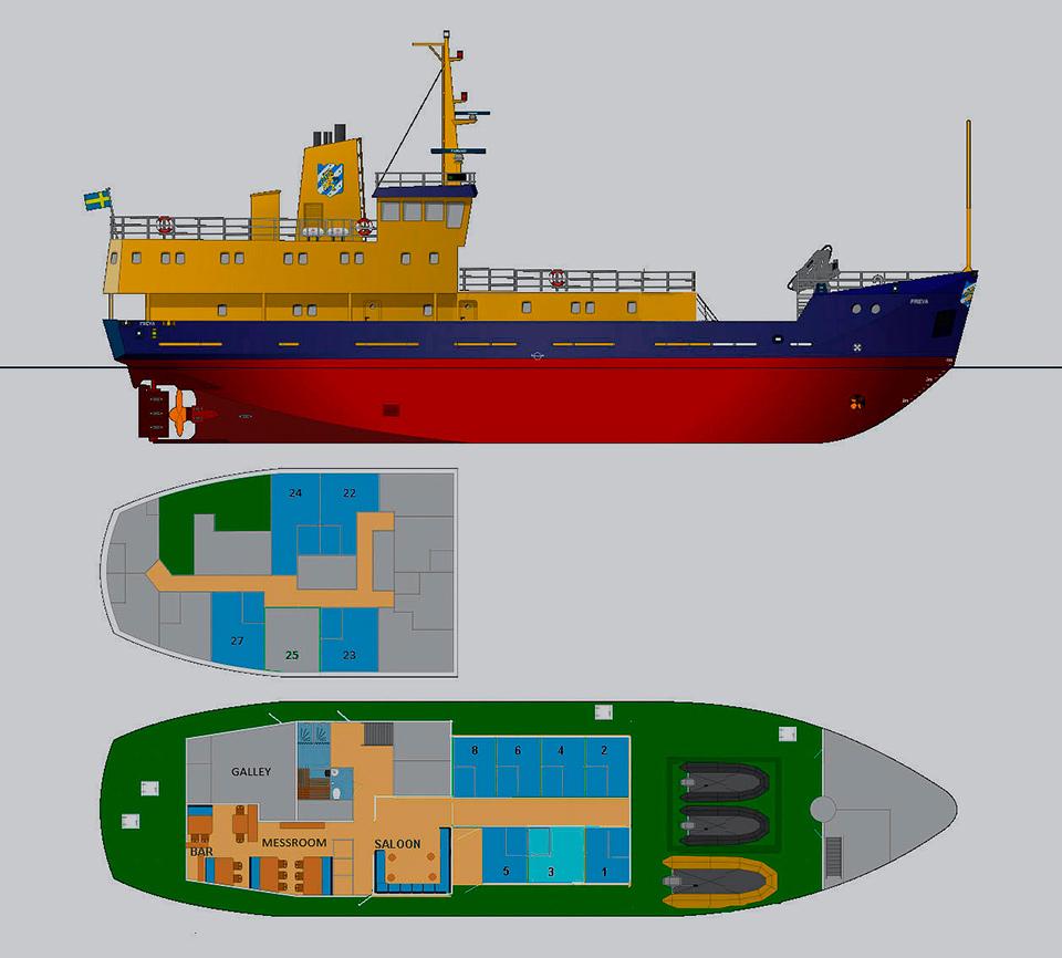 Scheme of the ship