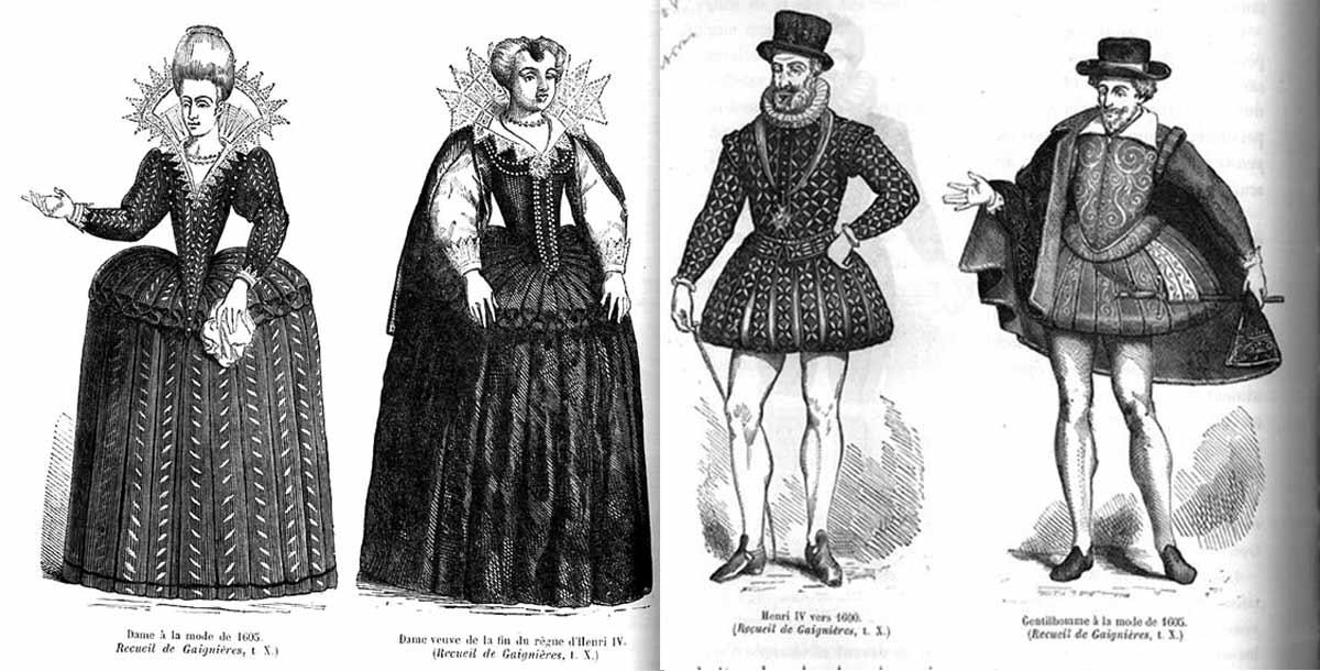 Дрескод през 17 в. по времето на Ромео и Жулиета. Мъжкото облекло на благородниците прави впечатление.