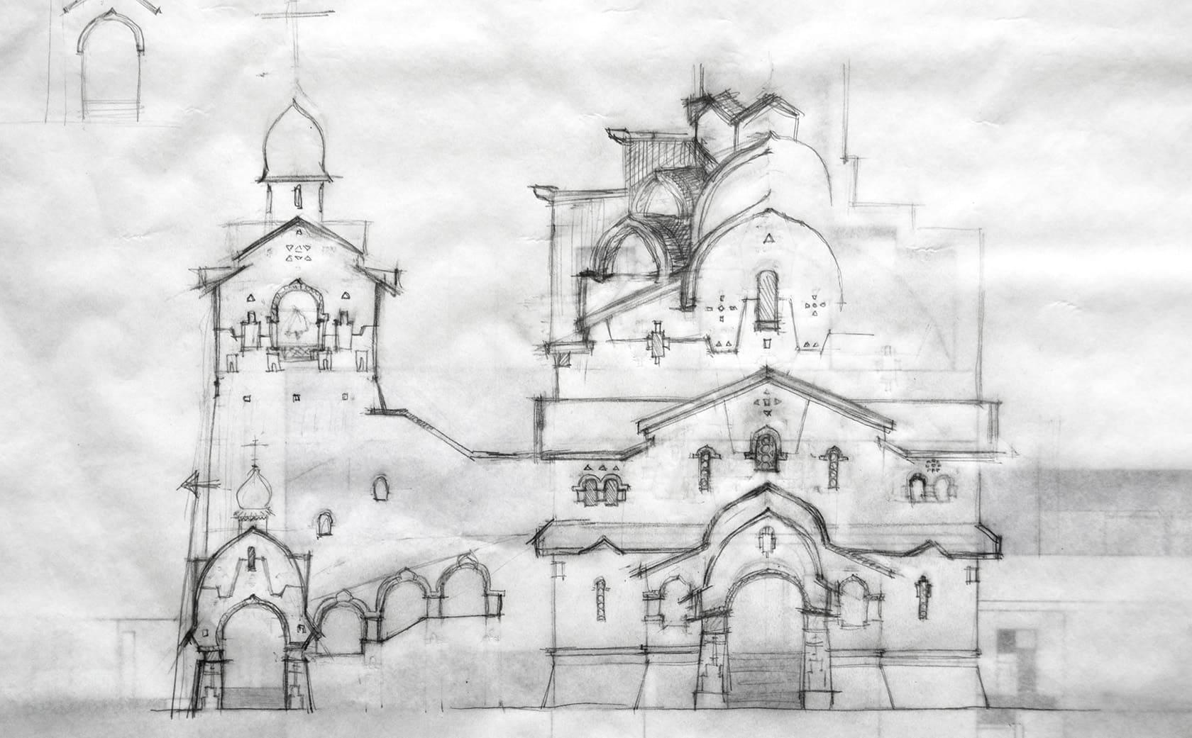 эскиз храма, проект храма, проект православного храма