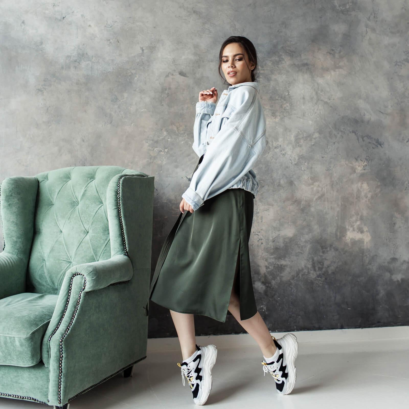 Платье комбинация разрез по бокам цвет хаки
