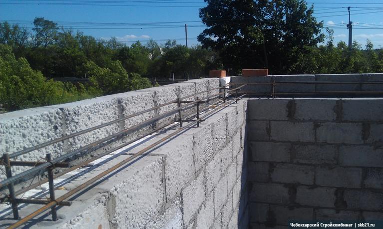 Монолитный пояс для стен из теплоблоков