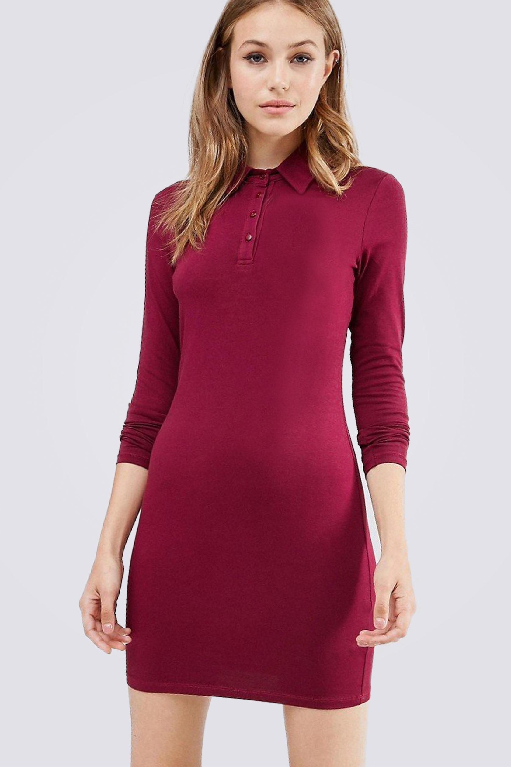 Платье поло ES.design бордовое EGOStyle